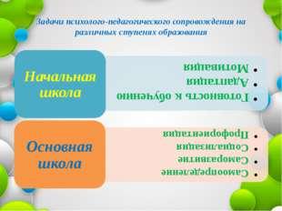 Задачи психолого-педагогического сопровождения на различных ступенях образова