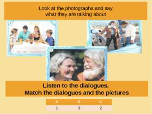 Look at the photographs and say what they are talking about Listen to the dia
