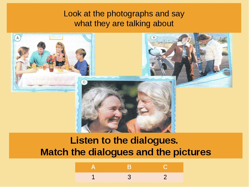 Look at the photographs and say what they are talking about Listen to the dia...