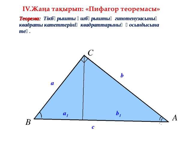 с a b Теорема: Тікбұрышты үшбұрыштың гипотенузасының квадраты катеттерінің кв...