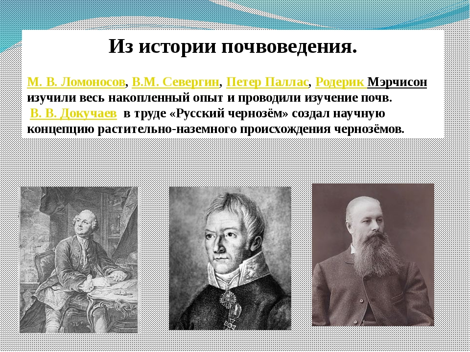 Из истории почвоведения. М.В.Ломоносов,В.M. Севергин,Петер Паллас,Родери...