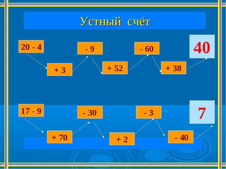 Устный счёт  20 - 4 + 3 - 9 + 52 - 60 + 38 40 17 - 9 + 70 - 30 + 2 - 3 - 40 7