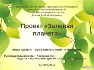 Проект «Зеленая планета» Автор проекта: актив детского клуба «Гайдаровец» Рук