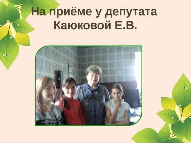 На приёме у депутата Каюковой Е.В.