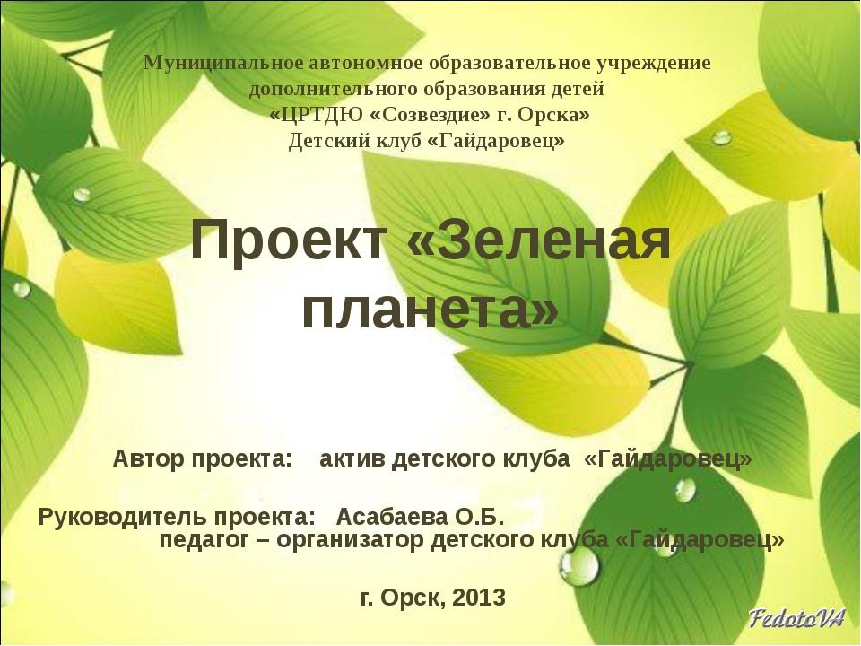 Проект «Зеленая планета» Автор проекта: актив детского клуба «Гайдаровец» Рук...