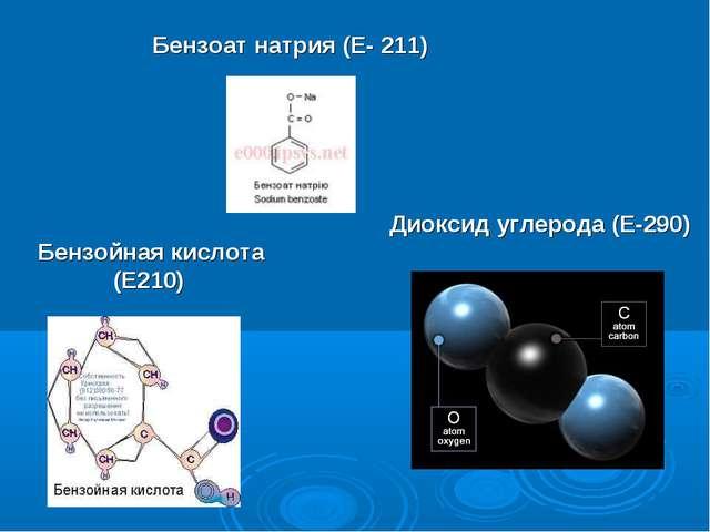 Бензойная кислота (Е210) Бензоат натрия (Е- 211) Диоксид углерода(Е-290)