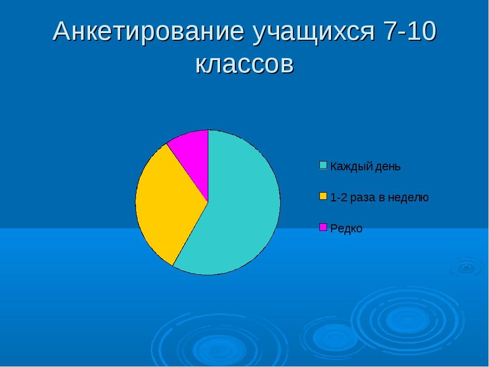 Анкетирование учащихся 7-10 классов
