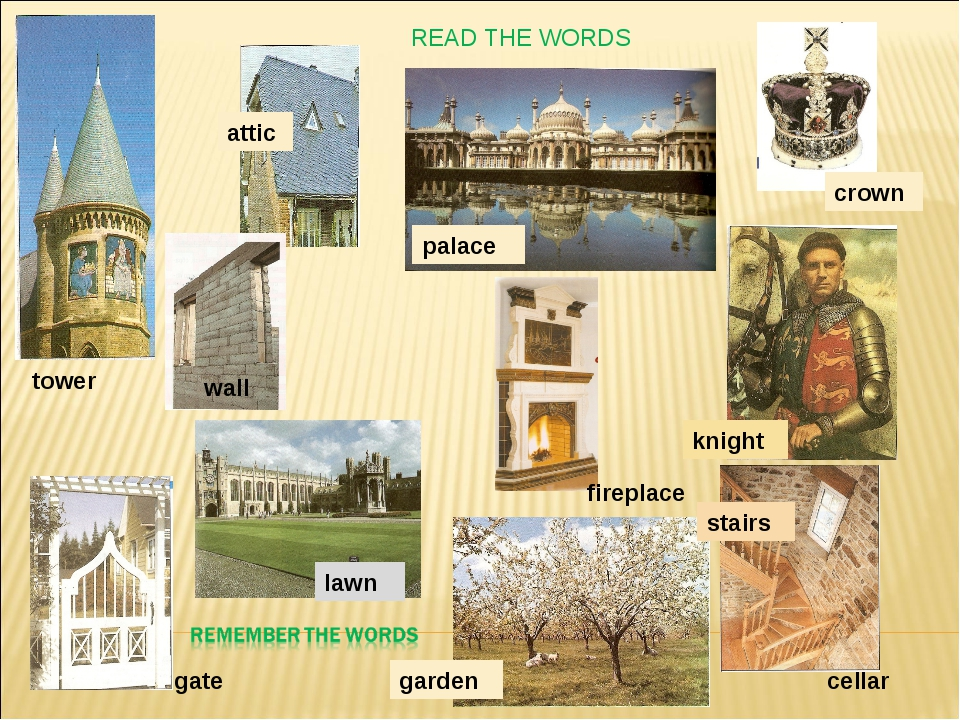 READ THE WORDS wall tower attic palace crown lawn garden stairs cellar gate f...