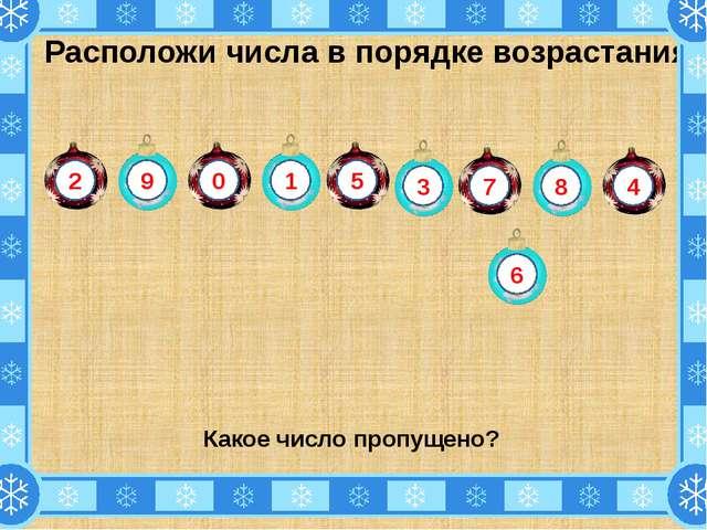Расположи числа в порядке возрастания. Какое число пропущено? 2 9 4 8 7 3 1 0...