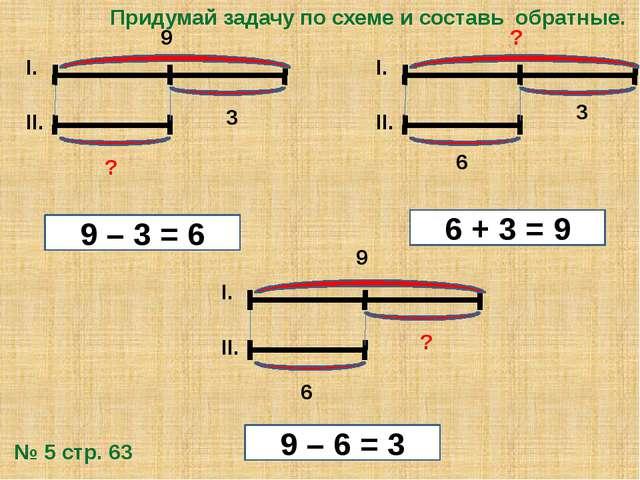 6 ? II. I. 6 ? II. I. 9 9 3 9 – 3 = 6 9 – 6 = 3 6 + 3 = 9 Придумай задачу по...