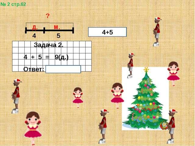 № 2 стр.62 ? 4 5 Д. М. Задача 2. 4 + 5 = 9(д.) Ответ: 9 детей. 4+5