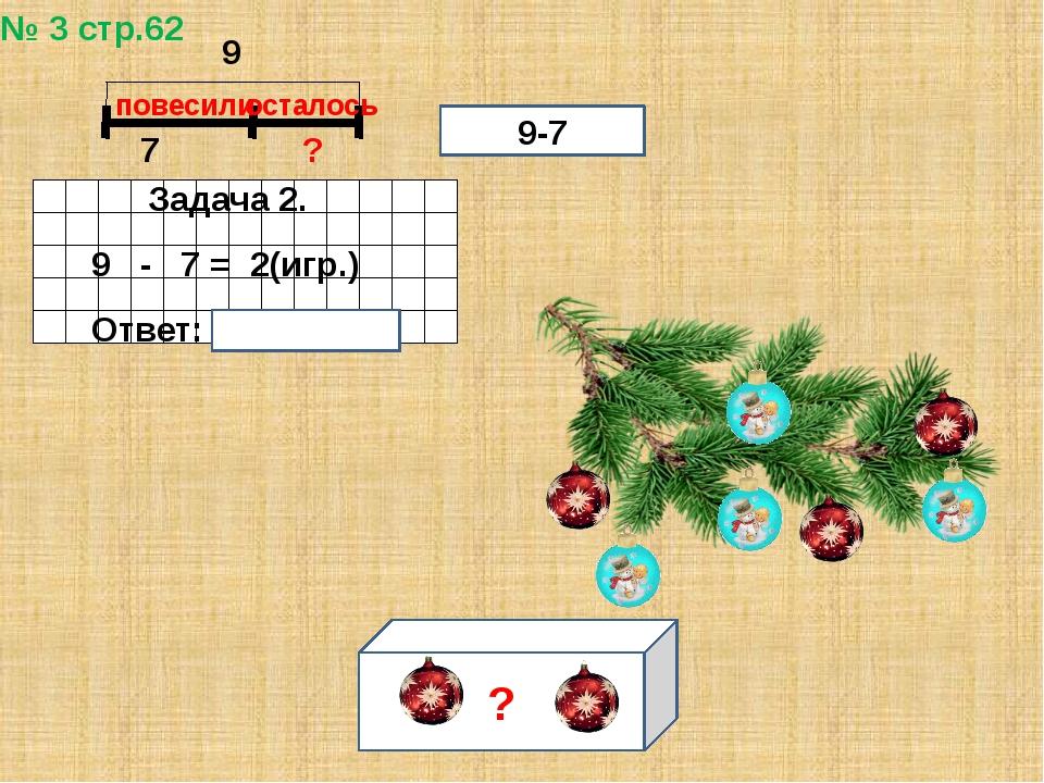 № 3 стр.62 7 ? повесили осталось Задача 2. 9 - 7 = 2(игр.) Ответ: 2 игрушки....