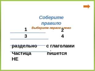 Частица НЕ с глаголами пишется раздельно Соберите правило Выберите первое сл