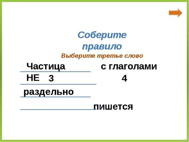 Частица НЕ с глаголами пишется раздельно Соберите правило ____________ _____...