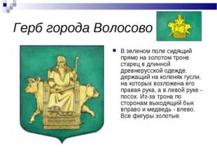 Герб города Волосово В зеленом поле сидящий прямо на золотом троне старец в д