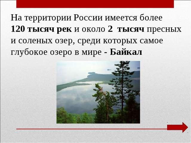 На территории России имеется более 120 тысяч рек и около 2 тысяч пресных и с...