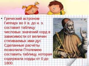 Греческий астроном Гиппарх во II в. до н. э. составил таблицу числовых значе
