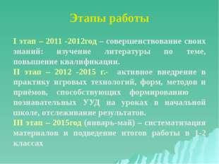 Этапы работы I этап – 2011 -2012год – совершенствование своих знаний: изучени