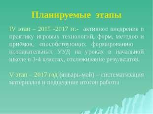 Планируемые этапы IV этап – 2015 -2017 гг.- активное внедрение в практику игр