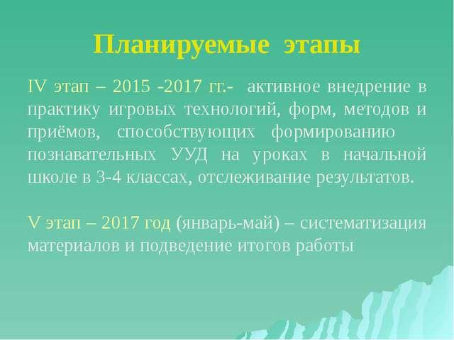 Планируемые этапы IV этап – 2015 -2017 гг.- активное внедрение в практику игр...