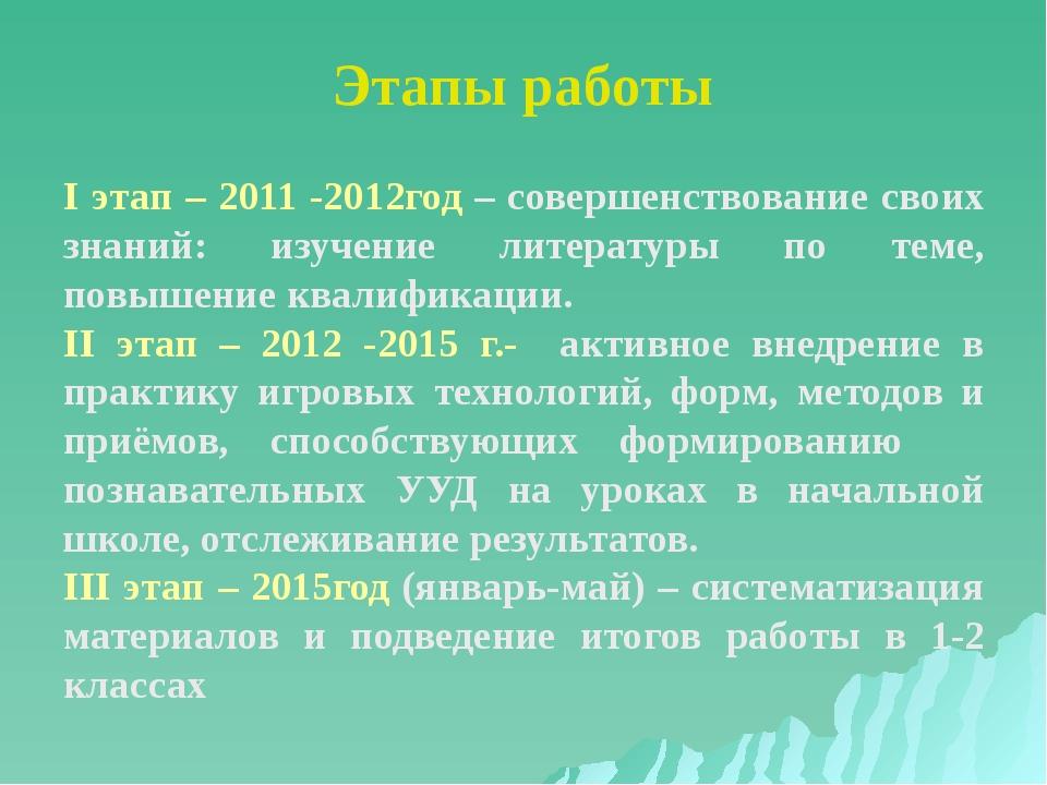 Этапы работы I этап – 2011 -2012год – совершенствование своих знаний: изучени...