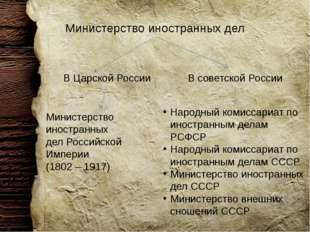 Министерство иностранных дел В Царской России В советской России Министерство