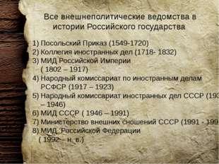 Все внешнеполитические ведомства в истории Российского государства Посольский