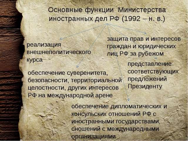 Основные функции Министерства иностранных дел РФ (1992 – н. в.) обеспечение д...