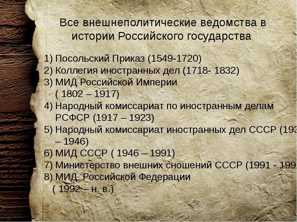 Все внешнеполитические ведомства в истории Российского государства Посольский...