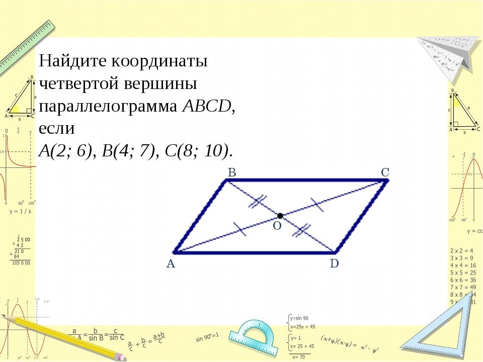 Найдите координаты четвертой вершины параллелограмма ABCD, если А(2;6), В(4;...