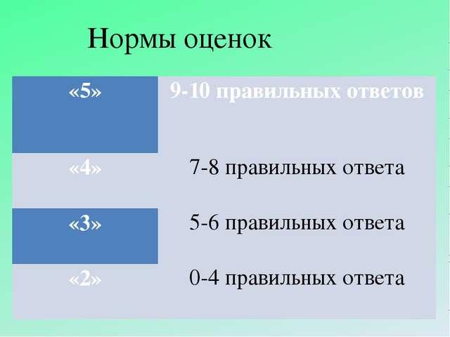Нормы оценок «5» 9-10правильных ответов  «4» 7-8правильных ответа  «3» 5-6...