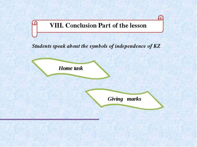 VIІI. Conclusion Part of the lesson Home task Giving marks Students speak abo...