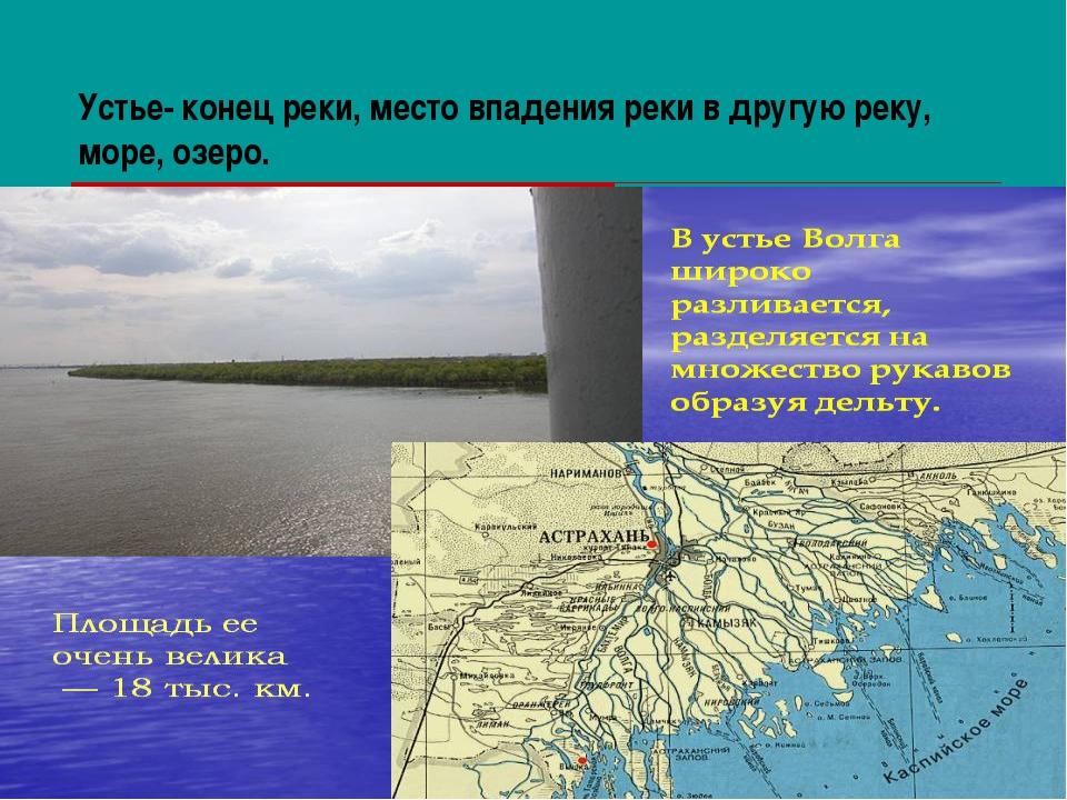Устье- конец реки, место впадения реки в другую реку, море, озеро.