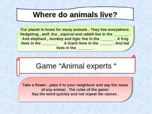 Where do animals live? Our planet is home for many animals . They live everyw