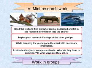 V. Mini-research work. Read the text and find out what animal described and f