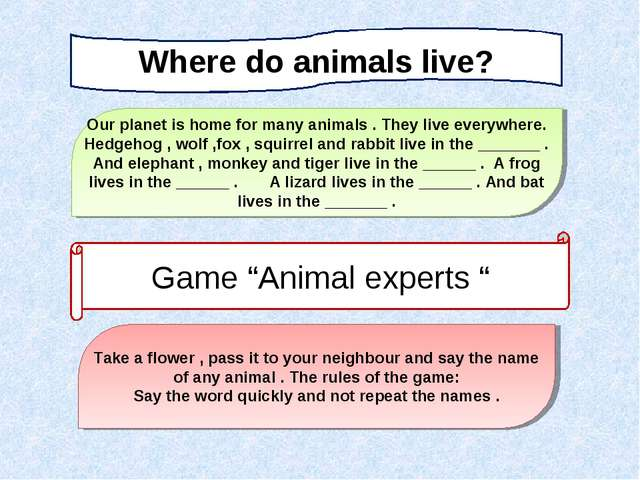 Where do animals live? Our planet is home for many animals . They live everyw...