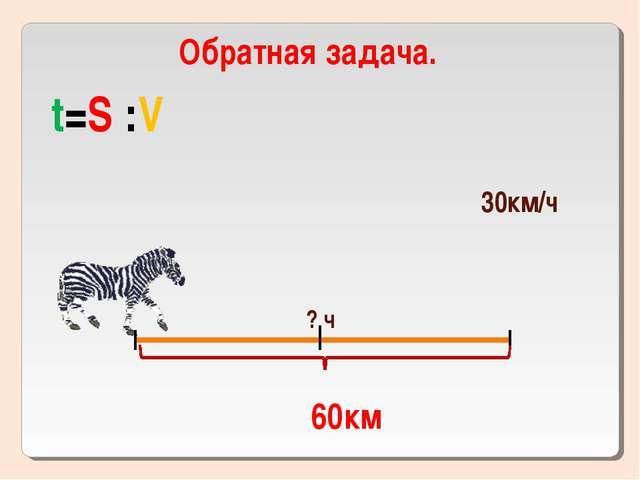 60км Обратная задача. t=S :V ? ч 30км/ч