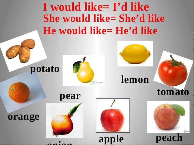 potato pear lemon orange tomato onion apple peach I would like= I'd like She...