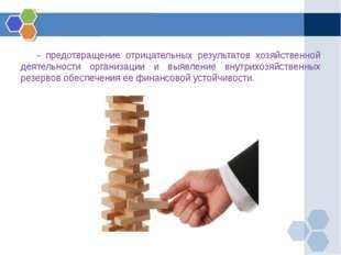 - предотвращение отрицательных результатов хозяйственной деятельности орган