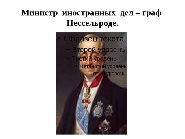 Министр иностранных дел – граф Нессельроде.