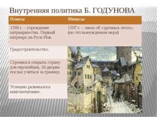Внутренняя политика Б. ГОДУНОВА Плюсы 1589 г. – учреждение патриаршества. Пер