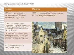 Внутренняя политика Б. ГОДУНОВА Плюсы Минусы 1589 г. – учреждение патриаршест