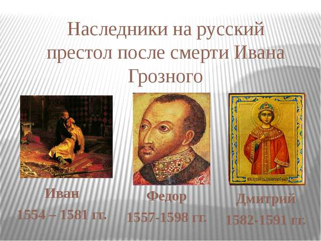 Иван 1554 – 1581 гг. Федор 1557-1598 гг. Дмитрий 1582-1591 гг. Наследники на...