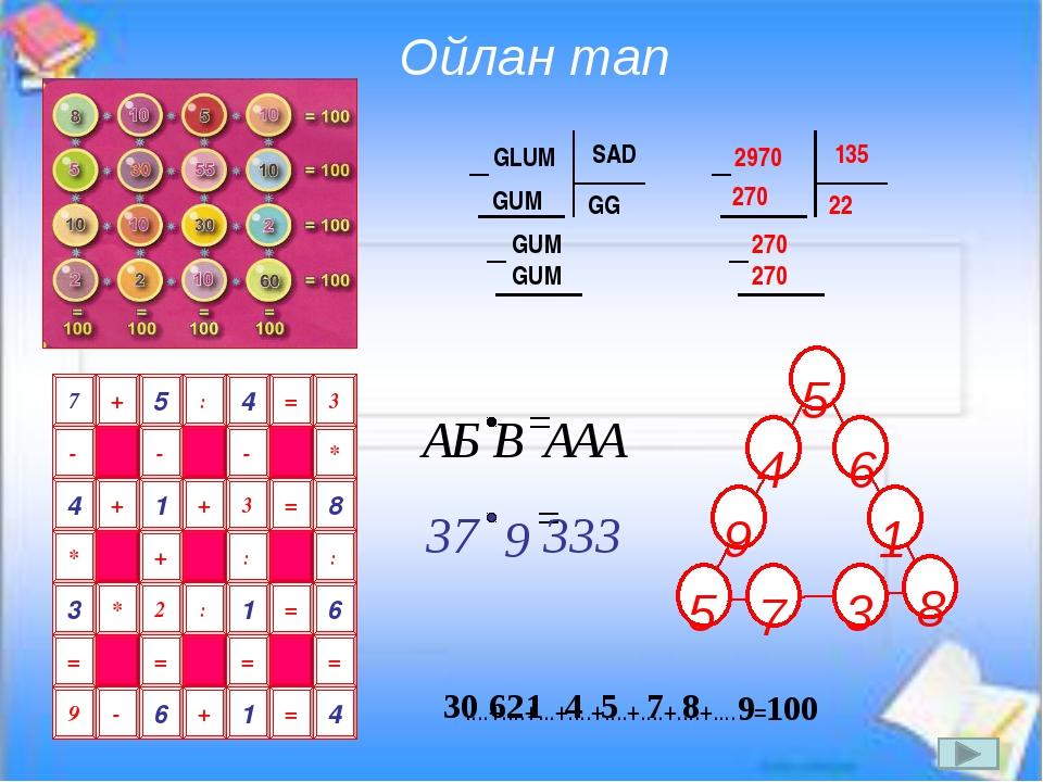 GLUM SAD GG GUM GUM GUM 2970 135 22 270 270 270 5 : 4 = 3 + 7 - - * - 1 + 3...