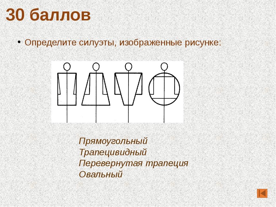 Определите силуэты, изображенные рисунке: 30 баллов Прямоугольный Трапецивидн...