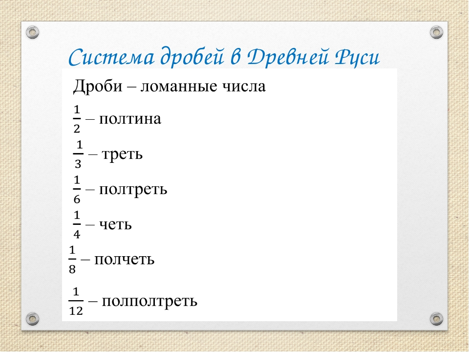 Система дробей в Древней Руси