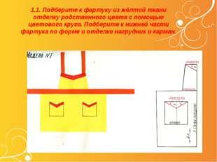 1.1. Подберите к фартуку из жёлтой ткани отделку родственного цвета с помощью