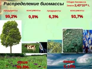 Распределение биомассы Общая биомасса Земли 2,43*1012 т. суша 99,8% океан 0,1