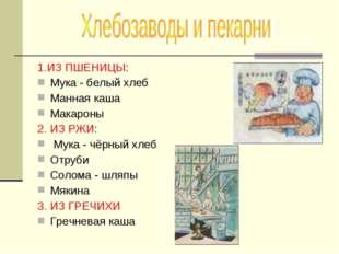 1.ИЗ ПШЕНИЦЫ: Мука - белый хлеб Манная каша Макароны 2. ИЗ РЖИ: Мука - чёрный