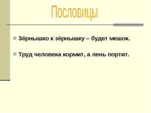 Зёрнышко к зёрнышку – будет мешок. Труд человека кормит, а лень портит.
